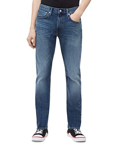 Calvin Klein Men's Athletic Taper Fit Jeans, Houston Mid Blue, 38W x 30L