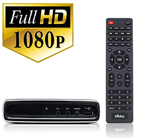 Exuby Digital Converter Box for TV with RCA AV Cable for Recording and Watching Full HD Digital Channels - Instant & Scheduled Recording, 1080P, HDMI Output, 7 Day Electronic Program Guide