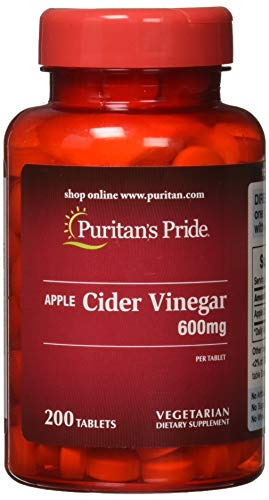 Puritans Pride Apple Cider Vinegar 600 mg Tablets, 200 Count