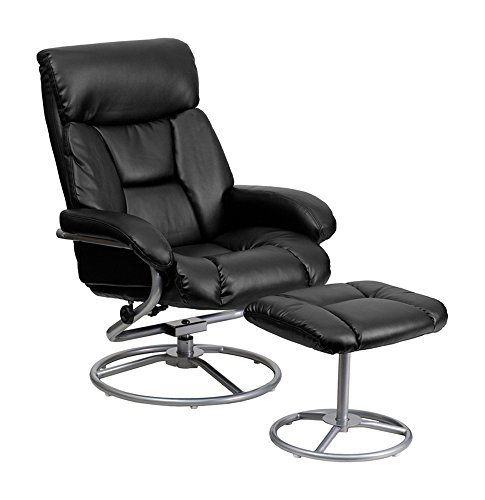 Flash Furniture Contemporary Black Leather Recliner and Ottoman with Metal Base [BT-70230-BK-CIR-GG]