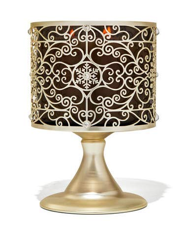 Bath and Body Works Ornate Snowflake Scroll Pedestal 3 Wick Candle Holder.