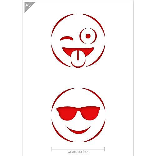 QBIX Emoji Schablone - Wink Emoji - Cooles Emoji - Emoticons Schablone - Größe A5 - Wiederverwendbare kinderfreundliche DIY Schablone für Malen, Backen, Basteln, Wand, Möbel