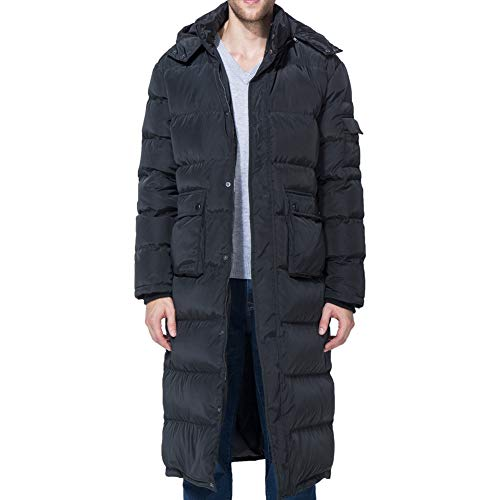 Tapasimme Men's Winter Warm Down Coat Men Packaged Down Puffer Jacket Long Coat with Hooded Compressible (Medium, Black Long)