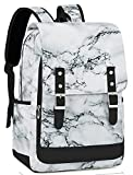 School Backpack for Teen Girls Women 15.6 inch Marble Laptop Backpack Daypack Bookbag with USB Charge Port School Bag for College Travel (Marble)