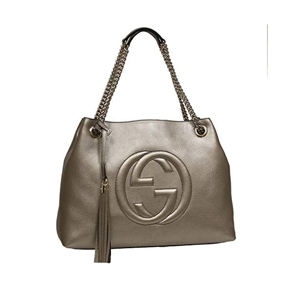 Fashion Shopping Gucci Soho Interlocking GG Golden Metallic Beige Chain Shoulder Handbag 308982 9524