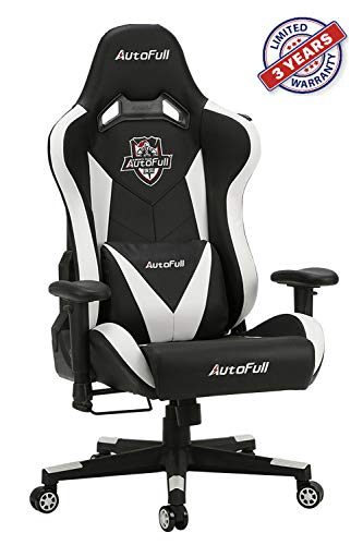 AutoFull Ergonomic Gaming Office Chair PU Leather Bucket Seat Racing Desk White Computer Chairs with Lumbar Support (3-Years Warranty) AutoFull chair gaming