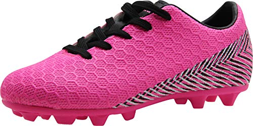 BomKinta Kid's FG Soccer Shoes Arch-Support Athletic Outdoor Soccer Cleats Rose Red Size 1 M US Little Kid