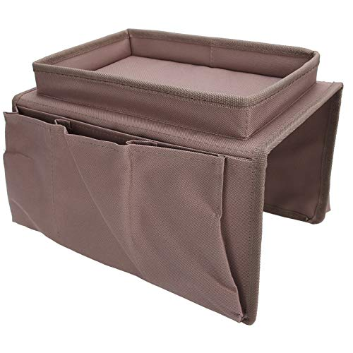Guoshiy Armchair Storage Bag, With A Top Tray 3 Outer Divided Pockets Wear Durable Sofa Storage Bag, for Sofa Storage Daily Small Gadgets(Brown)