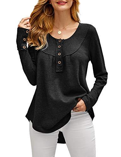 imesrun Womens Waffle Knit Tops Long Sleeve Tunic Button Loose Blouse Casual Plain Shirts Black XL 16/18