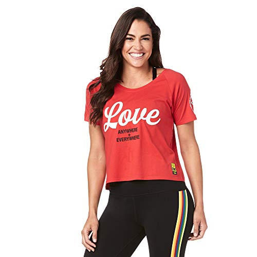 Zumba Lightweight Graphic Design Sexy Tops Cropped Gym Workout Shirts for Women, Viva La Red, XS