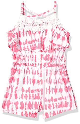 One Step Up Girls' Little Soft Knit Romper, Pink Tie Dye, 4