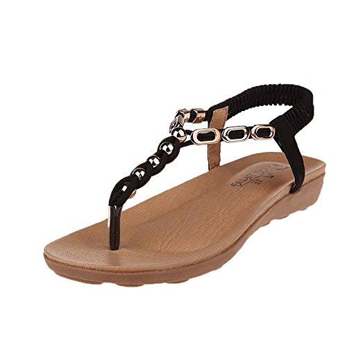 Sandalias planas para mujer, de verano, estilo vintage, con estrás, para el tiempo libre, con tacón plano, antideslizantes, cómodas, con hebilla, estilo medieval, elegante, brillantes 11 negro