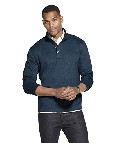 Van Heusen Men's Long Sleeve Never Tuck Jaspe Button Mock Pullover, Turquoise Seabed Solid, Large