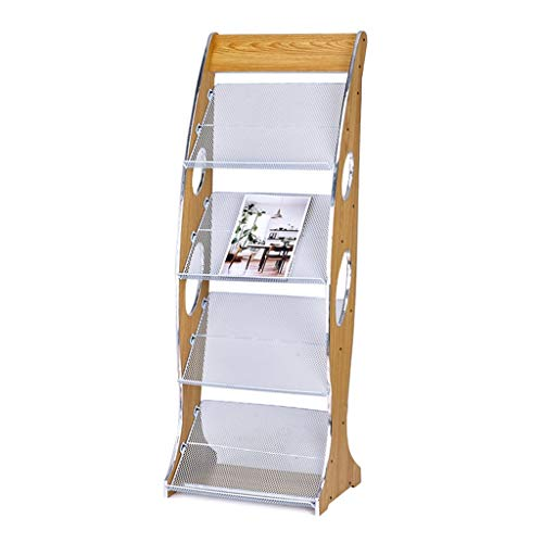 Dispensador de folletos de 4 Capas Estante de Revista de Piso Estante de Almacenamiento de Propaganda Estante de Libros de Madera,48.2 * 31.5 * 130 cm