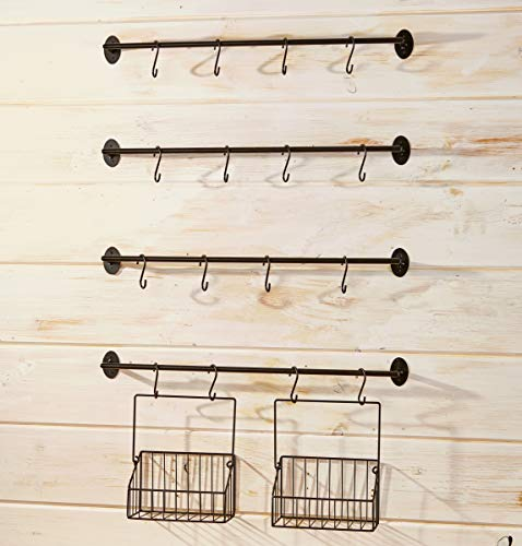 The Lakeside Collection Wall Rack for Coffee Mugs, Tea Cups with Industrial Pipe Style - 6 Pieces
