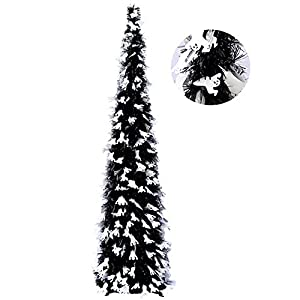 yuqi 5ft pop up black christmas halloween tinsel trees w/ghost sequins, collapsible artificial pencil halloween xmas thin tree, easy-assembly reusable silk flower arrangements
