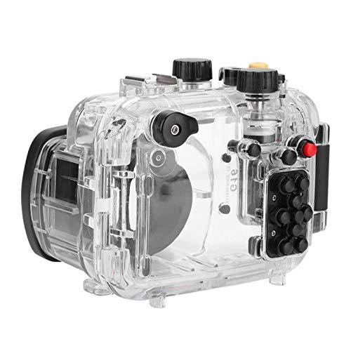 DAUERHAFT Carcasas subacuáticas para Canon G16 Dos Orificios para Tornillos de 1/4 Carcasas Impermeables para cámara ABS + Acero Inoxidable + Goma, para Canon G16, para Tomar Fotos Mientras se bucea