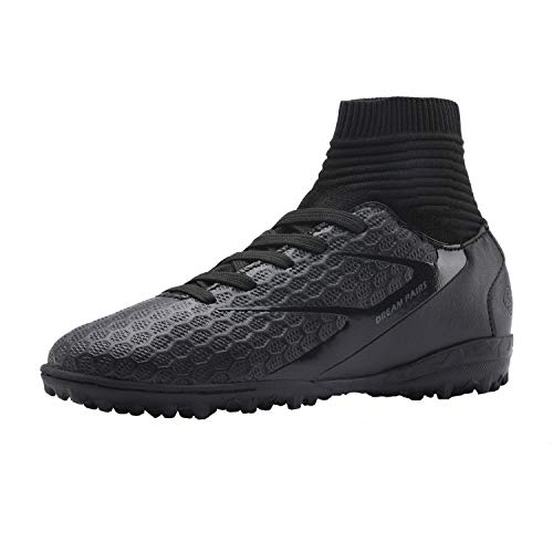 DREAM PAIRS Boys Girls All Black Turf Outdoor/Indoor Soccer Football Cleats Shoes Size 11 M US Little Kid HZ19001K