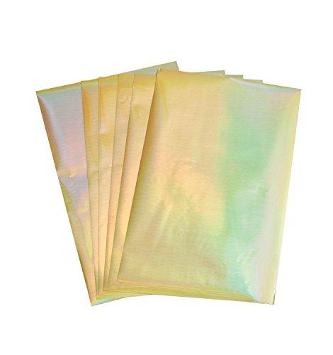 Rico Design Paper Poetry Transferfolie 15,1x9cm in vielen Farben 3D-Optik inkl. Anleitung 6 Blatt Transferpapier farbig Folie Irisierend