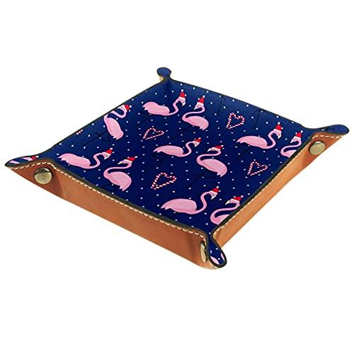 Yitian Bandeja de cuero PU Joyería Catchall Love Flamingo con Chirstmas Sombrero Patrón para Cambio Joyería Teléfono Clave Relojes Dados Elegancia Suave Cuero Reciclable