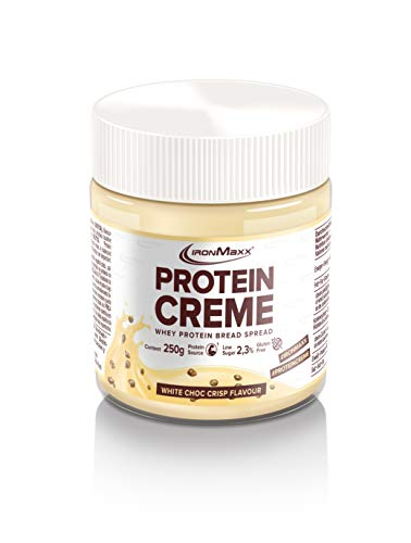 IronMaxx Protein Creme Whey Protein Pan para Untar 250 g, Chocolate Blanco Crujiente