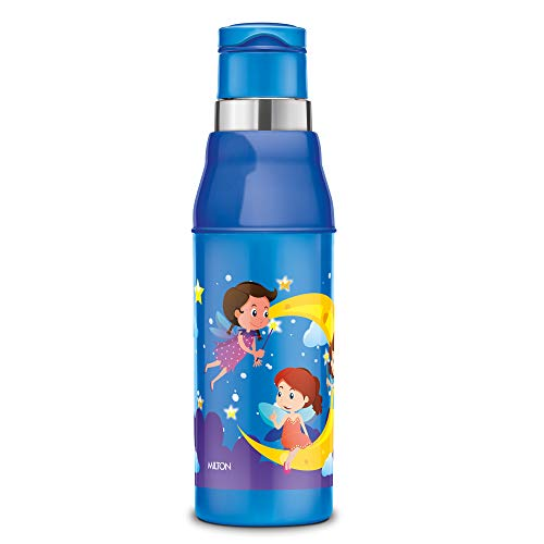 Milton Kool Steelight 600 Insulated School Kids Bottle with Inner Steel, 520 ml, Blue | Leak Proof | Easy Grip | BPA Free | Travel Bottle | Picnic Bottle | School Bottle | Back to School | Hot and Cold