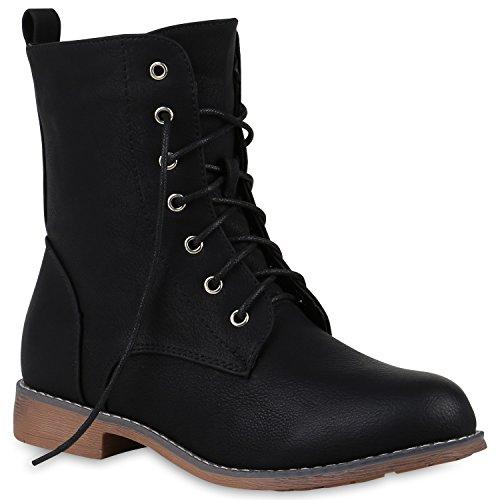 Bequeme Damen Schnürstiefeletten Stiefeletten Stiefel Schuhe 147176 Schwarz Amares 38 Flandell