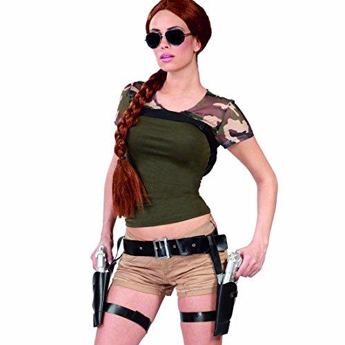 Amakando Étui Lara Croft avec Revolvers Double Porte-Pistolets déguisement de Cowboy Ceinture Colt Costume Accessoire Western Gaine avec pistoles Holster et Pistolets
