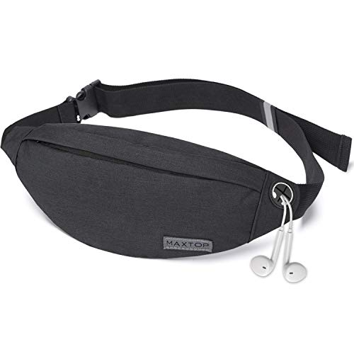 Fanny Pack for Men Women with Headphone Jack and 3-Zipper Pockets Adjustable Waist Pack Bags for Running Outdoors Workout Traveling Casual Festival(Black)