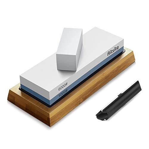 Aitsite Pietra per affilare i coltelli, 2 Lati Grana 1000/6000 Kit Professionale per affilare la Pietra bagnata con Supporto in Silicone Base in bambù Guida angolare Pietra per appiattire