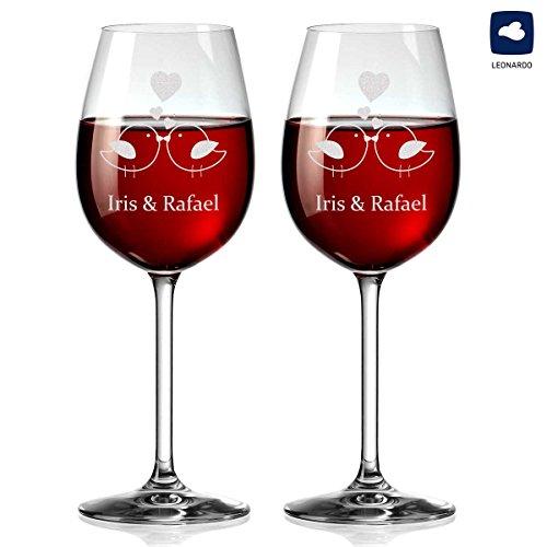 polar-effekt 2 Leonardo Weingläser Personalisiert mit Gravur - Rotwein-Glas Geschenkidee für Paare - Motiv Vogelpärchen