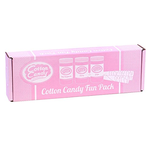 Cotton Candy Express 6006 Fun Pack | Kit Features Cherry, Blue Raspberry & Grape Floss Sugars (11 oz Each) &, 3 Flavors with Cones