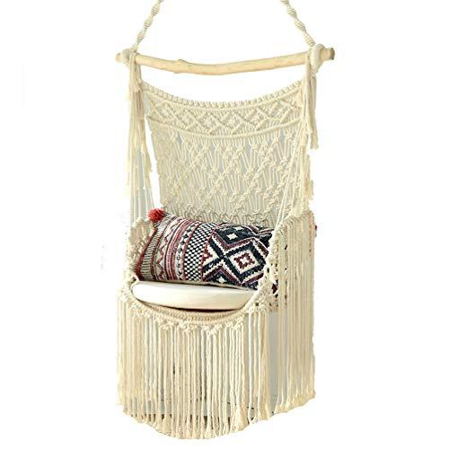 LMX-liv handgemaakte gebreide Boheemse hangende schommelstoel, uniek ontworpen Macrame hangmat schommelstoel, Beige katoenen touw kruk met franje kant voor binnen, buiten, terras, tuin, veranda