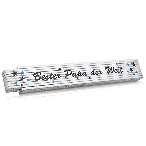 Zollstock Geschenk für Vatertag Meterstab bedruckt Bester Papa der Welt - Geschenkidee für Männer zum Geburtstag Hochzeitstag Weihnachten und Jahrestag - Gliedermaßstab aus Holz 2m Skala (Blau)