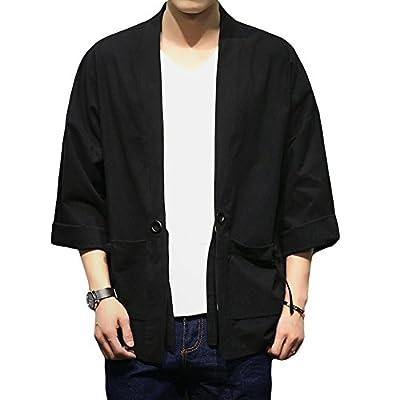 Mens Kimono Cardigan Jacket Yukata Coat Cotton Blends Linen