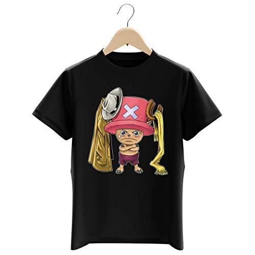 T-Shirt Enfant Garçon Noir Parodie One Piece - Tony Tony Chopper - Etendage Pirate : (T-Shirt Enfant de qualité Premium de Taille 3-4 Ans - imprimé en France)