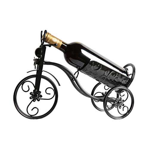 Kiter Wine rack Wine shelf European Wine Rack Decoration, Creative Wine Bottle Living Room Decoration (Color : Black)