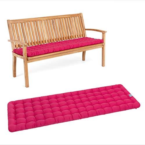 HAVE A SEAT Luxury – Cojín de asiento para banco de jardín, cómodo cojín para banco de jardín, lavable hasta 95 °C, fácil de limpiar, fabricado en Alemania (120 x 48 cm, rosa caliente)