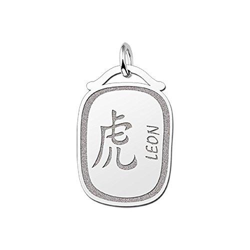 Namesforever hanger Chinese sterrenbeeld tijger van zilver met naam gravure