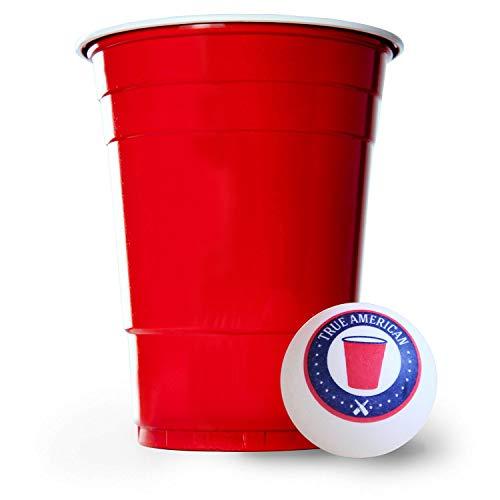 BeerBaller® Red Cups   Bier Pong Set inkl. 50 rote Beer-Pong Becher & 3 Bierpong Bälle   473ml 16oz – Original American Party-Becher!