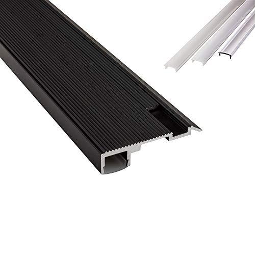 B-WARE - T-STA LED Alu Treppenprofil Treppenwinkel Profil Stufen schwarz + Abdeckung Abschlussleiste Fliesen für LED-Streifen-Strip 2m opal