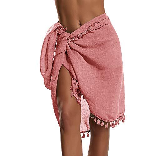 Manooby Bikini Cover Ups de Playa para Mujer Bañador de Gasa Pareo Bufanda Semi Transparente Traje Falda Corta con Borlas