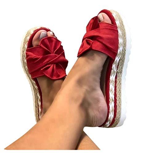Dasongff Damen Sommer Sandalen Lässige Flache Schuhe Plateau Flat Heel Elegant Espadrilles Römersandalen Pantoletten Peep Toe Flip Flop Schuhe Strandsandalen