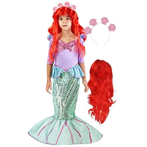 Spooktacular Creations Disfraz de Sirena con Peluca roja y Diadema (S)