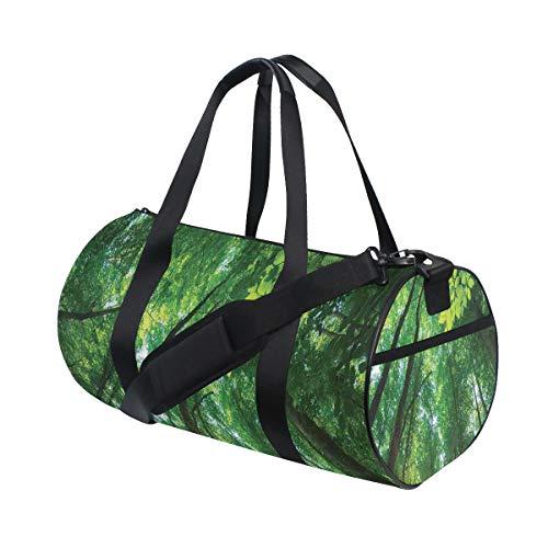 ZOMOY Bolsa de Deporte,Sol Vibrante Que atraviesa el Bosque de follaje bajo árboles Altos en la Naturaleza,Nuevo de Cubo de impresión Bolsas de Ejercicios Bolsa de Viaje Equipaje Bolsa de Lona