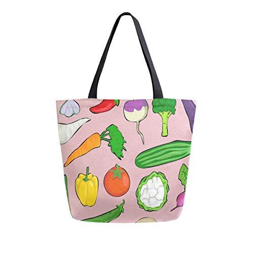 JinDoDo - Bolsa de lona para varias verduras, tomate, rábano, patata, reutilizable, bolsa para mujer, para compras, viajes, playa, escuela