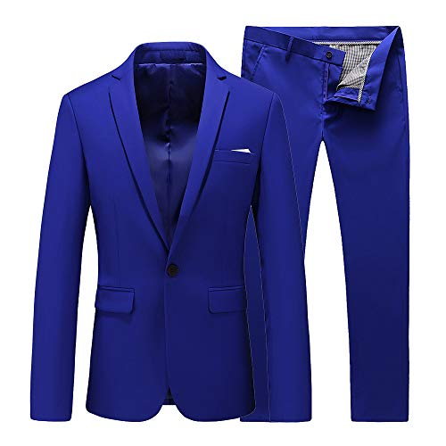 UNINUKOO Mens Slim Fit 2 Piece Suit Single Breasted Jacket Party Prom Tuxedo PantsUS Size 40 (Label Size 4XL) Colored Blue