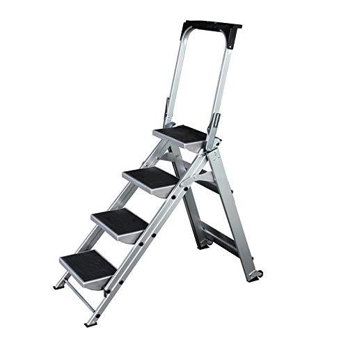 Quskto klaptreden, 4/5 step-ladder van aluminium vouwladder anti-slip draagbare trapladder binnenlands ministerie huis garage decoreren schilderijen ladder met wiel antislip multifunctionele trapladder
