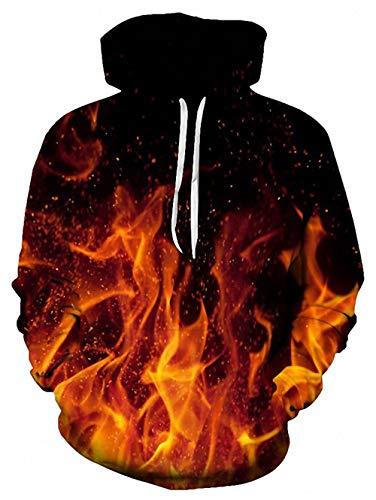 ALISISTER Unisex 3D Hoodie Herren Damen Kapuzenpullover Sweatshirt Personalisiert Galaxis Feuer Drucken Drawstring Langarm Pullover Kapuzenpullis mit Tasche S