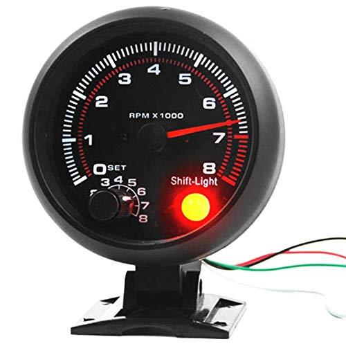 SODIAL Universel 3,75 Pouces 12V LED Blanche Retro-Eclairee Jauge Tachymetre avec Voyant De Changement De Vitesse Rouge pour Voiture a Essence Automatique, 0-8000 RPM
